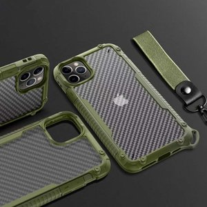 Acrylic + TPU + Carbon Fiber 3 In 1 Anti-fall Mobile Phone Case For iPhone 12 11 Pro Max XR X XS Max 7 8 6S Plus With Fashional Rope