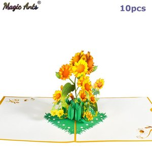 10 Pack -Up Flower Card 3D Sunflower Greeting Cards for Valentines Day Get Well Mothers Day Birthday Anniversary Wholesale