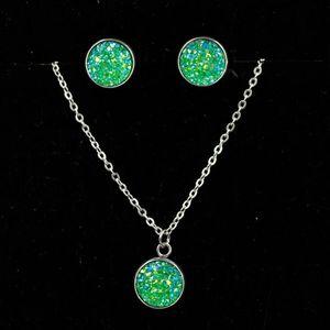 Women druzy drusy Rhinestone Pendant Statement Necklace Earrings Jewelry Set Fashion Jewelry Bridal Wedding Dress Jewelry Setsps1614
