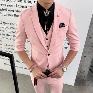 Mens Suits Slim Fit Suits Pink New Tuxedo 2020 Red Terno Smoking Men's Elegant White Wedding Dinner Dress 3 Pcs