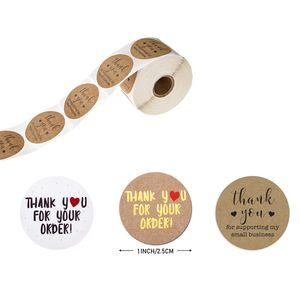 500 unids / roll Gracias por las calcomanías de su pedido Gracias por ayudar a la etiqueta de sello de regalo de la etiqueta pequeña de la pequeña empresa JK2101XB
