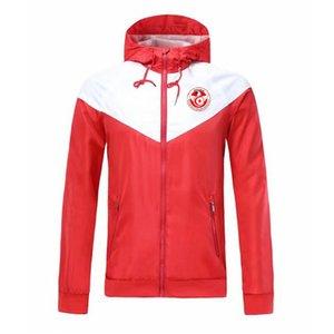 2020 Tunísia National Social Adulto Comable Windbreaker Jaqueta Winter Winproof Zipper Quick Seco Esportes Hoodies Jaqueta de futebol Running Jackets