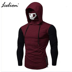 Hot Sale Icelion 2019 Autumn Hoodies Men Solid Zipper Cardigan Mask Sweatshirts Slim Fit Sportswear Fashion Casual Tracksuit Dropshipping