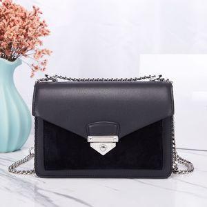 High Quality Leather Silver Lock Envelope Bag Woman Designer Handbag Fashion Luxury One Shoulder Chain Satchel