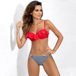 ESSV Volous Stripped Femmes Push Up Badmode Sexy Badpak Bikini Ensemble Bandeau Zwempak Beachwear S ~ 2xl