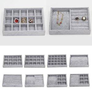 Caja de la bandeja de la exhibición de la exhibición de la joyería de terciopelo gris para la joyería Hot Sales Fashion Portable Velvet Jewelry Organizer Box W1219