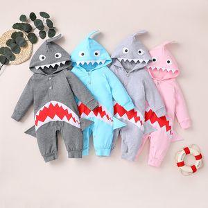 2020 Новый 4 цвета шаржа младенца Rompers Одежда с длинным рукавом с капюшоном животных Shark Комбинезоны Бутик малышей Одежда M2937
