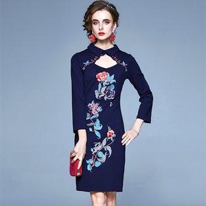 Выдалбливают Воротник Цельный платье Женские наручные рукава Элегантные осенние платья платье Женщины Урожай Цветочные Вышивка партии