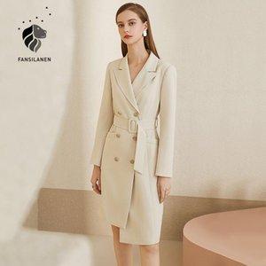 FANSILANEN Офис леди elelgant белого пиджака платье женщин осень зима пояс тонкий черный миди платье марочного Женские сексуальной 2020