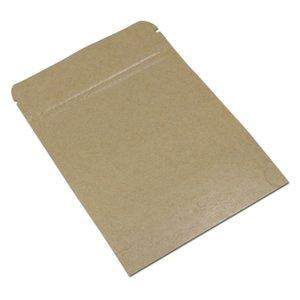 100 adet Kraft Kağıt Stand Up Zip Kilit Paketleme Çanta Temizle Mat Pencere Açılıp Kapanabilir Kahverengi Fermuar Snack Ambalaj Torbalar H BBYWSE