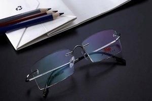 Unisex -1.5--3.0 Miyopi Gözlük Okuma Gözlükleri Titanyum Alaşım Çerçeve Öğrenci Nefis Silver Miyop