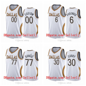 Men 30 Curry 6 Porzingis Luka Doncic DallasMavericksWhite Edition Gold silver logo 2020-21 Jersey