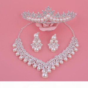Wedding Jewelry Sets, Auniquestyle New Design Silver Flower Crystal Pearl Bride Set Necklace Earrings Tiara Crowns Bridal Accessories