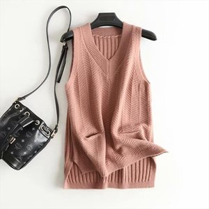 Faux Cashmere Knitted White Womens Vest 2020 New Spring Solid Pocket Sleeveless Jacket Female Sweater Waistcoat Gilet Femme