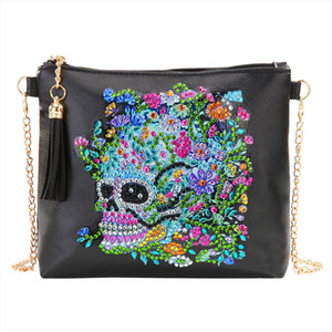 5D Creative Design Women Shoulder Crossbody Bag DIY Skull Flower Special Shaped Diamond Painting Leather Messenger Bags
