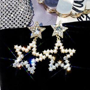 Wholesale Hollow Star Dangle Drop Earrings 14k Gold Crystal Pearl Eardrop 925 Silver Needle Earrings Women Girl Party Jewelry Accessory