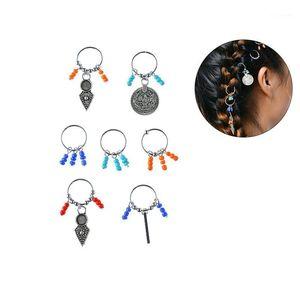 Colorido trenzado étnico pelo dreadlocks bricolaje joyería trenza tocado tocado tocado tocado aro anillo de aro accesorio accesorio de pelo clips1
