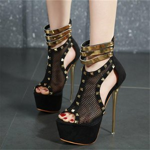 2020 new Summer Women 17cm High Heels Mesh luxury metal Sandals Fetish Striptease prom Pumps 6cm Platform Open toe Party Shoes