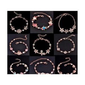 Mix Charm Bracelet Cat Eye Gem Stone Luxury Marquise Cut Austrian Cz Crystal Gold Plated Rose Fox Fish Heart Jewelry wmtJiL queen66
