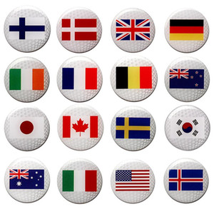 PINMEI Printting Country Flag Golf Ball Marks Sets Covered with Epoxy Covering Golf Markers 10pcs per lot Fit for Hat Clips