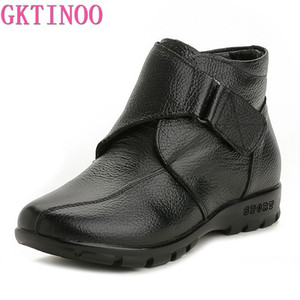 GKTINOO Fashion Winter Shoes Women's Genuine Leather Ankle Flat Boots Casual Comfortable Warm Woman Snow Boots201103