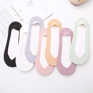 4 Pairs Ladies Summer Thin Sock Slippers Silicone Antiskid Ice Silk Solid Seamless Invisible Women DIY Boat Socks