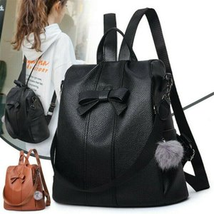 NoEnName-Null Fashion Women Anti-theft Leather School Bag Backpack Travel Casual Waterproof Satchel Shoulder Bag
