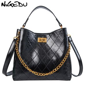 NIGEDU Сумка для женщин Цепной Bucket Сумки кожи PU стеганой женской сумки роскошь дизайнер мешком главной фам