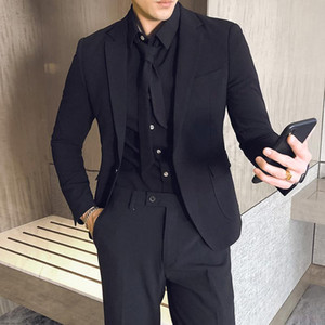 Three Piece Suits Men 2020 Pink Black Grey Dress Wedding Social Suit Trajes Formales Hombre Business Smoking Homme Mariage