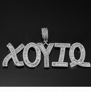 Hip Hop Custom Baguette Letter Pendant Necklace Combination Letters Name Pendant 24inch Tennis Necklaces Zirconia Jewelry