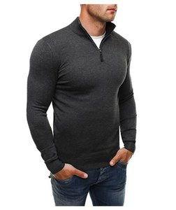Brand Men's Sweatshirts Leisure Zipper Fashion Solid Color Pullover for Male High-collar Sweater Sweatshirt kg-81