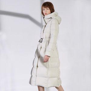 Janveny Winter Women Long Down Jacket 90% White Duck Down Coat Feather Puffer Slim Hooded Parkas Female Snow Outwear Waterproof