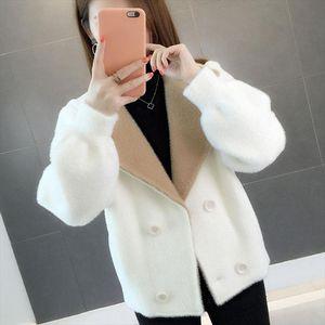 Warm Fur Long Sleeve Faux Mink Fur Coat Winter Short Hair Faux Coat Solid Color Ladies Outerwear Casual Female
