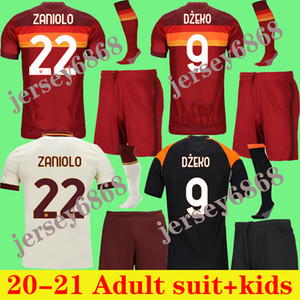 Adult kit 2020 2021 home DZEKO jersey DE ROSSI away men's white jersey third blue PASTORE KIDS jersey adult KIDS+SOCKS kit for men