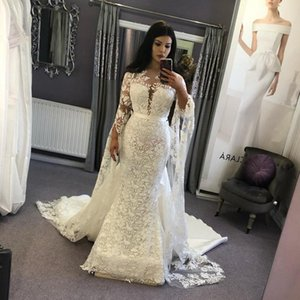 Stylish Full Lace Boho Wedding Dresses 2020 Detachable Trian Dubai Long Sleeve Beach Bohemian Wedding Dress Plus Size Rustic Country Bridal