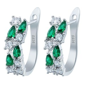 Exquisite Drop-shaped Green CZ Zircon Stud Earrings for Women Wedding Earrings Fashion Jewelry