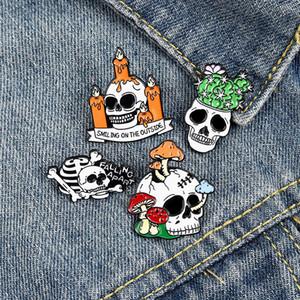 Punk Skull Halloween smalto Spille Pin per monili delle donne Girl Fashion Accessori Spille perni metallici Vintage Badge regalo del commercio all'ingrosso