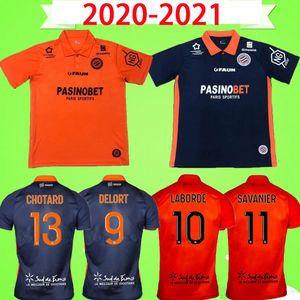 20 21 Maillot de pied Montpellier HSC Jersey 2020 2021 Accueil Blue Orange Delort Savanier Lecomte Labord Chotball Chot Football