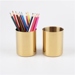 Stainless Steel Brush Pot Vintage Simplicity Desktop Ornaments Vases Plated Gold Nordic Style Multi Function Storage Cup Hot Sale 18yh K2