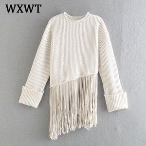 WXWT NUEVO Moda Fashion Fringed Floot Punto Suéter Spring Solid O Cuello Manga Larga Temperamento Damas Ladies Tops LT2477