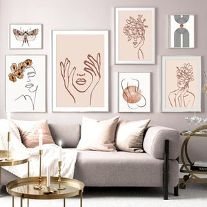 Résumé Fille Fleur papillon Minimaliste mur d'art de toile Peinture Affiches nordique et mur Prints photos pour Living Room Decor