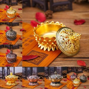 Alloy Hollow Incense Burner Aromatherapy Furnace Lotus Shaped Incense Burners Double Dragon Ear Hollow Home Censers