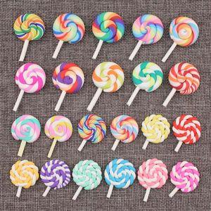 Mini Sipariş 5 adet El Yapımı Polimer Kil Kawaii Lolipop Şeker Yama Sticker Kız Saç Takı Malzeme Şeker Düğmesi Kil Charms1