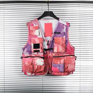 2021 رجل سترة الكلاسيكية أزياء العلامة التجارية سترة الهيب هوب سترة الصيف طوق عالية الجودة YKK سستة متعددة جيب الأدوات التمويه معطف