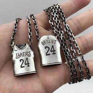 I fan Collana pallacanestro Jersey per il basket Sporter maglia numero # 23 # 24 collane in acciaio inossidabile monili punk regalo