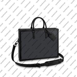 M44952 부드러운 트렁크 서류 가방 남성 박스 메신저 지갑 양각 쇠가죽 채기 디자이너 서류 가방 포트폴리오 첨부 케이스 토트 핸드백 숄더 백