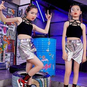 Kids Hip Hop Girls Dance Clothes Jazz Costume Black Crop Tops Fashion Silver Skirt Children Street Modern Stage Costume BL44311