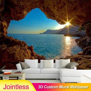 Jointless Custom Photo Wallpaper 3D Cave Sunrise Sea Nature Landscape Large Murals Living Room Sofa Bedroom Backdrop Decor Walls