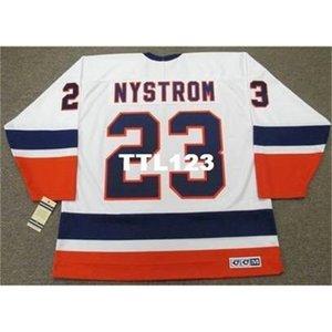 121 # 23 Bob Nystrom New York Adaları 1982 CCM Vintage Home Hokey Jersey veya Özel Herhangi bir isim veya numara Retro Jersey