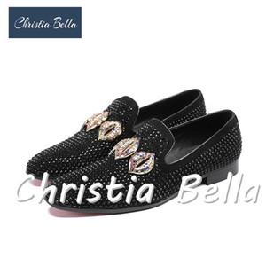 Christia Bella Black Strass Tassel Loafers Männer Crystals Slippers Rauchen Slip-on-Schuh-Partei und Hochzeitskleid der Männer Flats